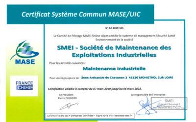 SMEI renouvelle sa certification MASE.