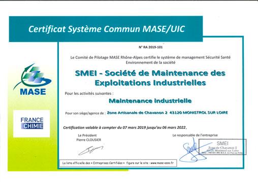 Certification MASE renouvellement en Mars 2019